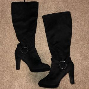 Coach black suede knee-high boots! Near perfect!